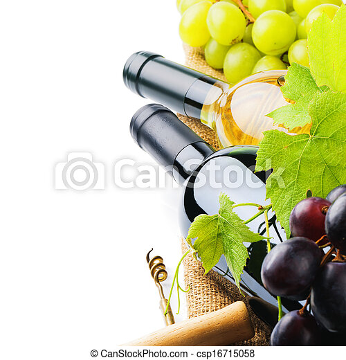 Bottles of red and white wine with fresh grape - csp16715058