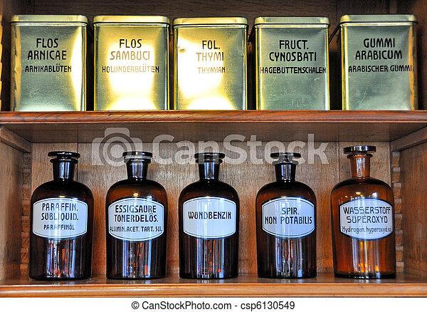 Bottles on the shelf of an old pharmacy - csp6130549