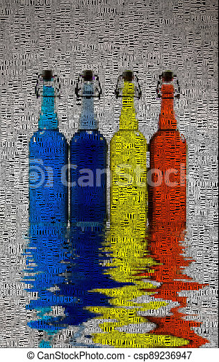 Bottles. Reflection on water - csp89236947
