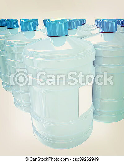 Bottles with clean blue water . 3D illustration. Vintage style. - csp39262949