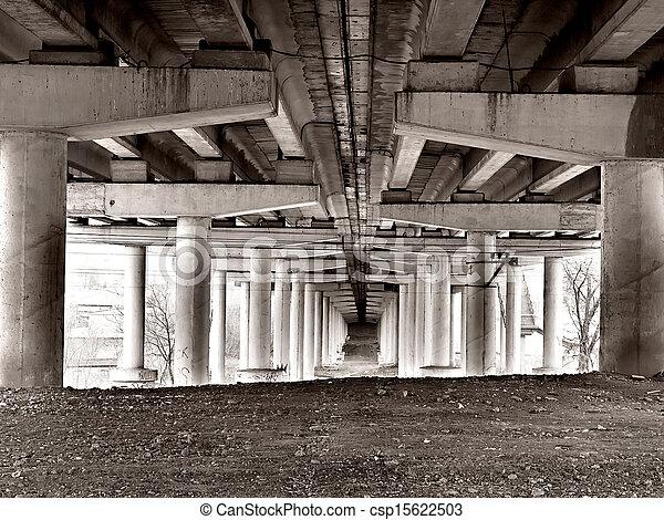 bottom view of a concrete bridge in grunge style - csp15622503
