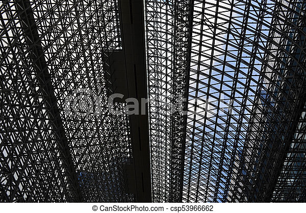 Bottom View Of Interior Design Of Modern Metal Roof At Kyoto Station Japan Interior Design Of Modern Metal Roof At Kyoto
