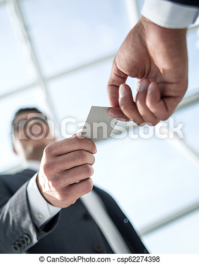 bottom view.business people exchanging their business cards. - csp62274398