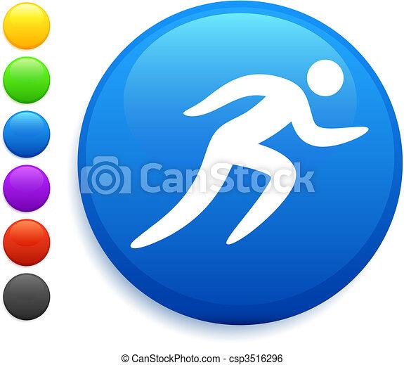 bottone, icona, rotondo, correndo, internet - csp3516296