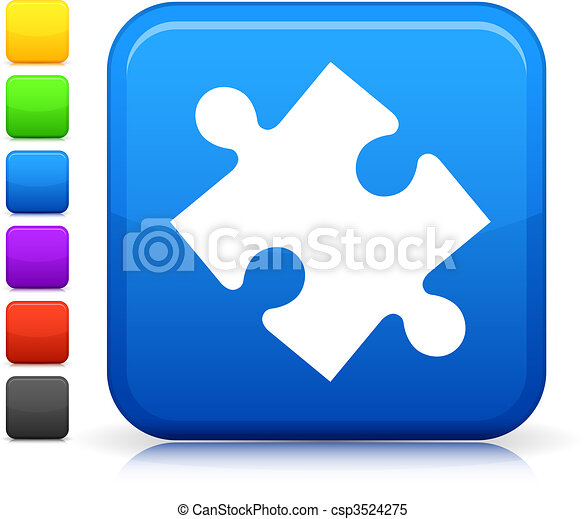 bottone, quadrato, puzzle, icona, internet - csp3524275