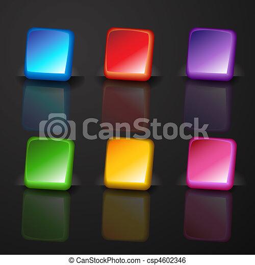 bottone, quadrato, set - csp4602346