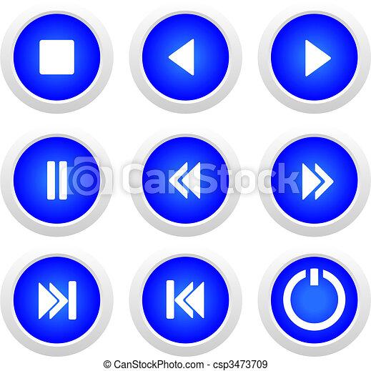 bottoni blu, set, musica - csp3473709