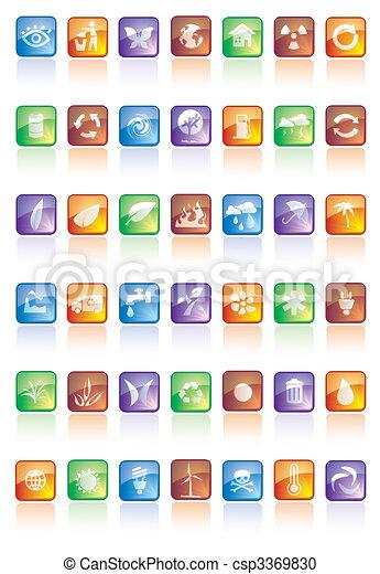 bottoni, lucido, icone - csp3369830