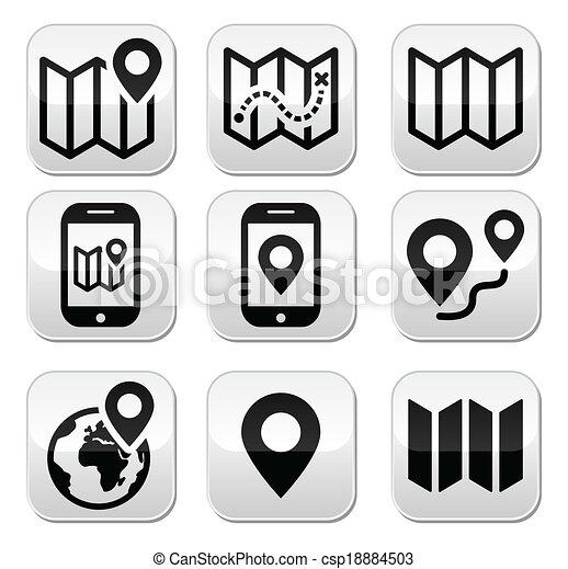 bottoni, mappa, viaggiare, set - csp18884503