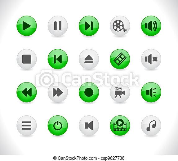 bottoni, media, icons. - csp9627738