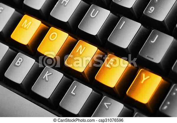 bottoni, soldi, parola scritta, tastiera - csp31076596