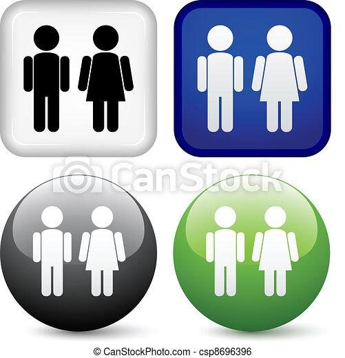bottoni, vettore, maschio, femmina - csp8696396
