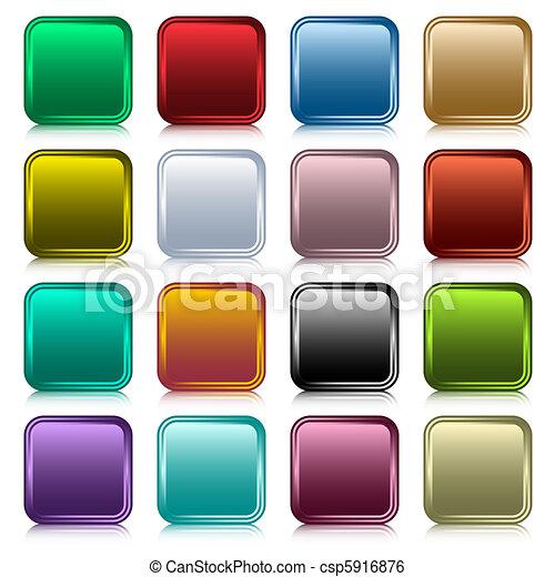 bottoni, web, quadrato, set - csp5916876
