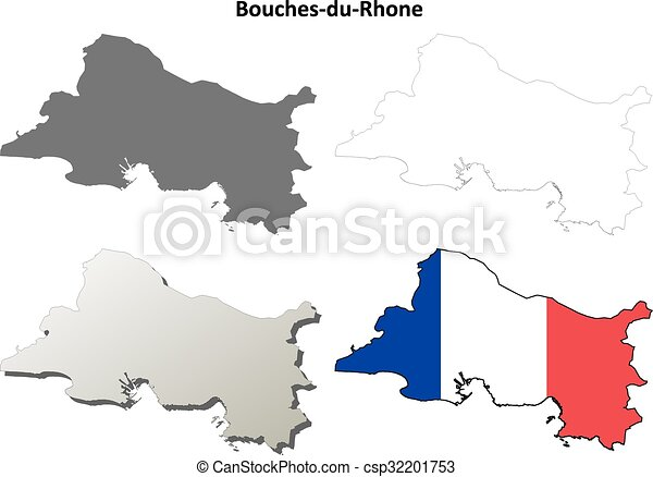 Bouches Du Rhone Provence Outline Map Set