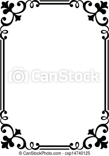 bouclé, cadre, noir, calligraphie, baroque, calligraphie - csp14740125