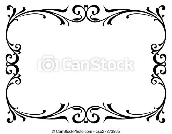 boucl cadre noir calligraphie baroque calligraphie boucl cadre isol noir. Black Bedroom Furniture Sets. Home Design Ideas