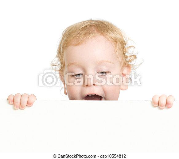 bouclé, enfant, publicité, tenue, vide, bannière - csp10554812