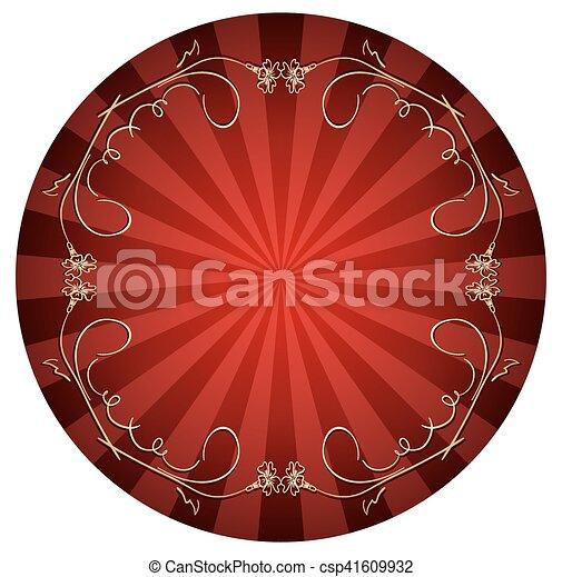bouclé, or, cadre, -, vecteur, fond, rouges - csp41609932