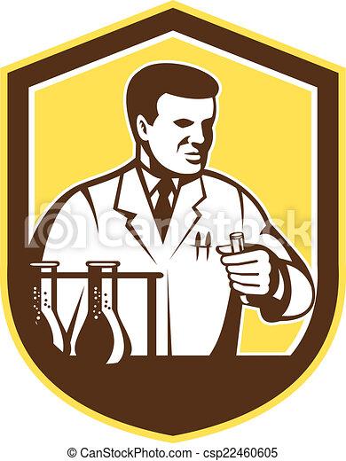 bouclier, chercheur, laboratoire, scientifique, retro, chimiste - csp22460605