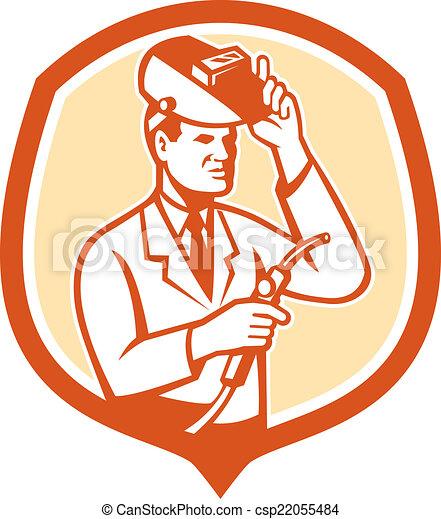 bouclier, chercheur, laboratoire, scientifique, retro, soudeur - csp22055484