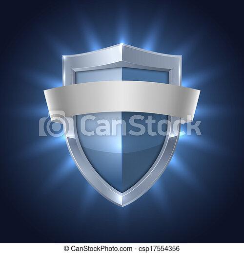 bouclier, incandescent, sécurité, vide, écusson, ruban - csp17554356