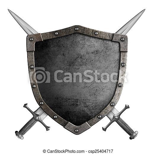 bouclier, manteau, épées, isolé, bras croisés, chevalier, moyen-âge - csp25404717