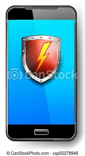 bouclier, symbole, éclair, téléphone, protection, boulon, icône, sauvegarde, rouges - csp55278948
