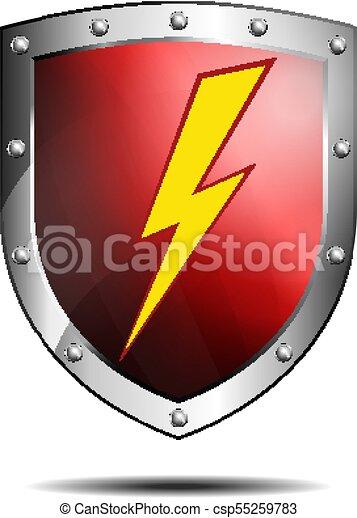 bouclier, symbole, profond, boulon foudre, sauvegarde, ou, rouges, icône - csp55259783