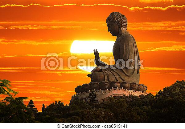bouddha, coucher soleil - csp6513141
