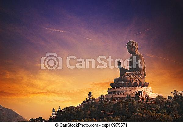 bouddha, lantau, bronzage, tian, (hong, island), kong - csp10975571