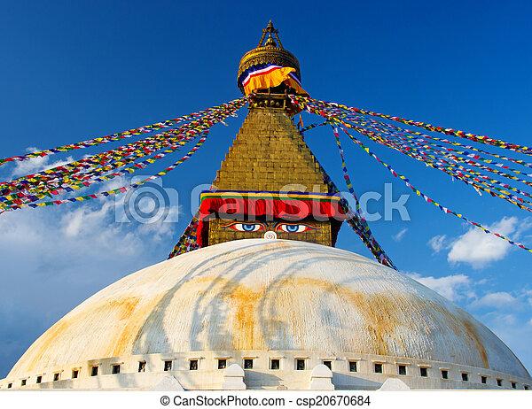 Boudhanath Stupa  in Kathmandu, Nepal  - csp20670684