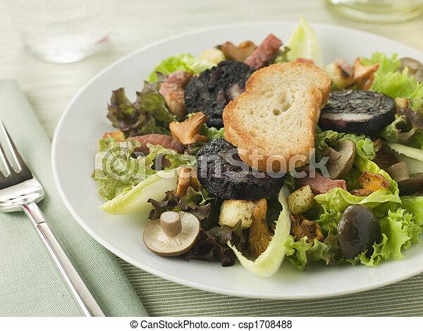 Salad maison - boudin noir tocino y champiñones - csp1708488