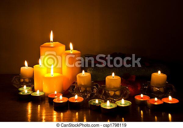 bougie, spa, lumières - csp1798119