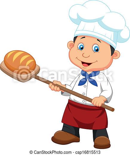 Boulanger Dessin Animé Pain Boulanger Vecteur Dessin Animé