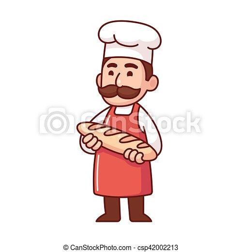 Boulanger Dessin Animé Pain Mignon Pain Pain Mustache