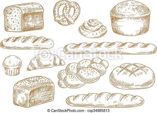 Boulangerie Pain Croquis Icônes Croquis Croissant Clipart