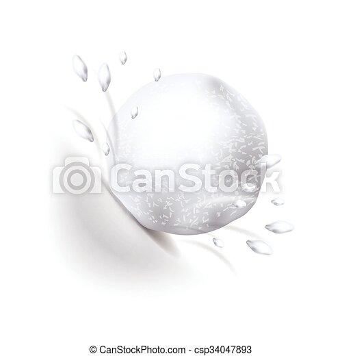 boule de neige, vecteur, blanc, isolé - csp34047893