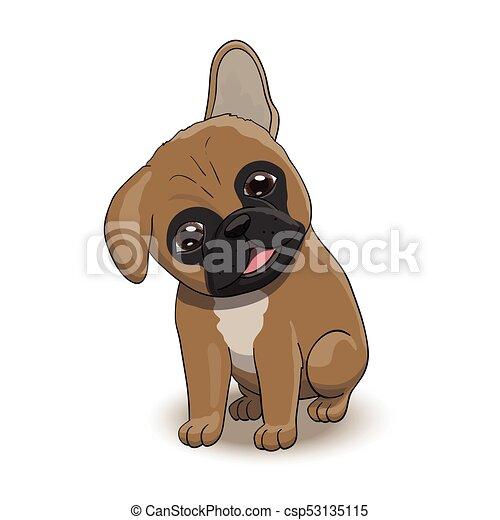 bouledogue, caractère, francais, portrait, chiot, dessin animé - csp53135115