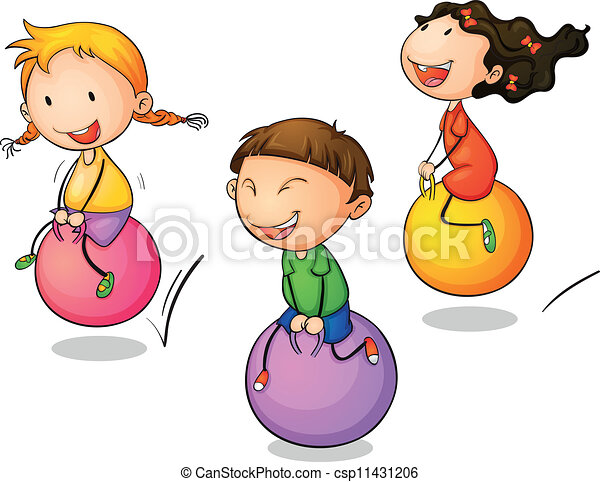 Bounce Illustration Of Three Bouncing Kids