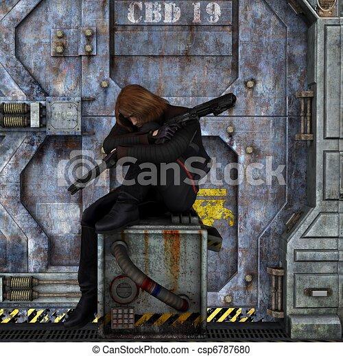 Bounty Hunter at Rest - csp6787680