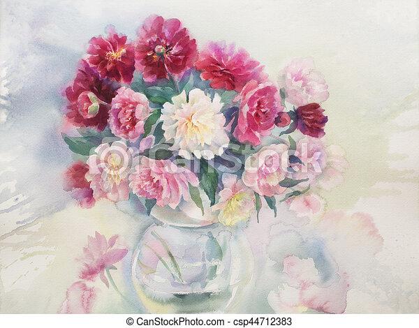 Bouquet Aquarelle Couleur Pivoines