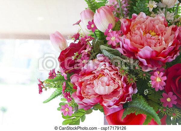 bouquet, arranger, fleurs, decorat - csp17179126
