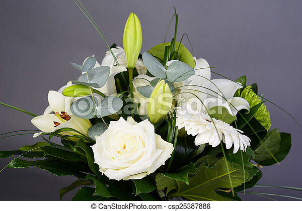 Bouquet Bunch Of Beautiful White Flowers With Roses Lily And Daisy