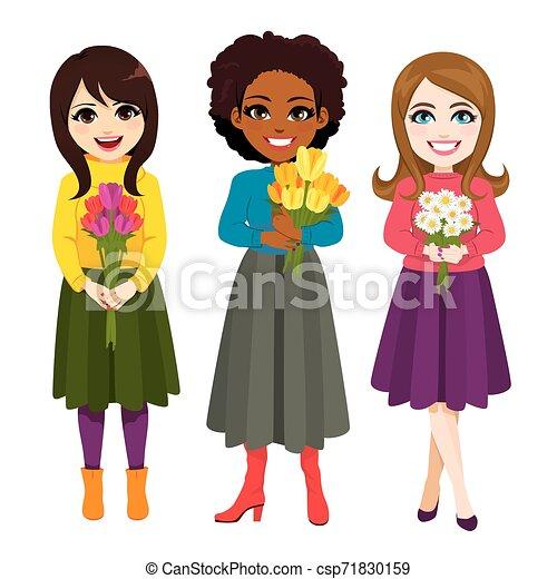 bouquet, fleur, trois, tenue, femmes - csp71830159
