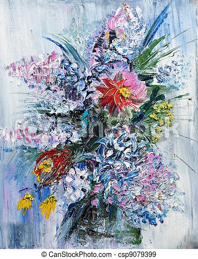 bouquet fleurs ressort peinture huile image toile huile bouquet printemps peint fleurir. Black Bedroom Furniture Sets. Home Design Ideas
