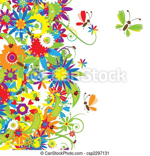 bouquet floral, illustration, été - csp2297131