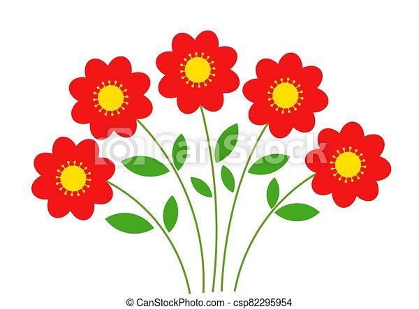 bouquet., flores, rojo - csp82295954