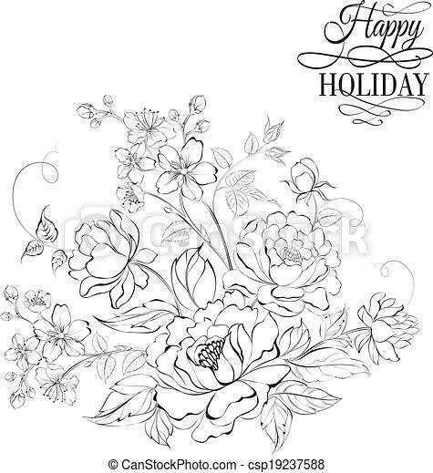 bouquet flowers fleur sakura pivoine fleur vecteur search clip art illustration. Black Bedroom Furniture Sets. Home Design Ideas