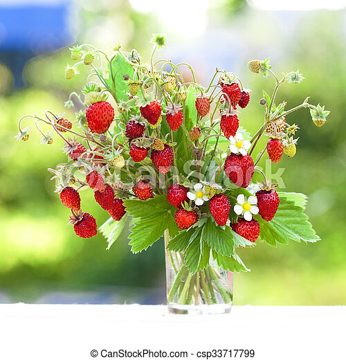 Moderne Bouquet, fraises fraîches, juteux. JU-99