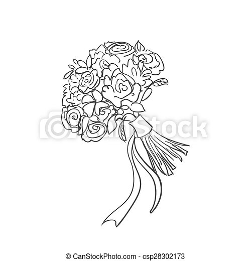bouquet, griffonnage, nuptial - csp28302173